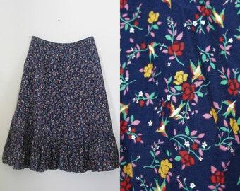 Vintage 70s prairie skirt / birds and blooms print prairie skirt / Hippie Boho Folk skirt