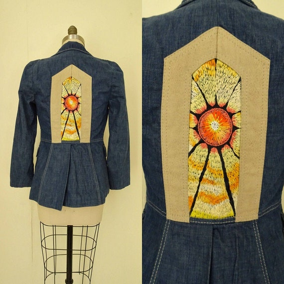1970s hand embroidered Portal Sun denim blazer