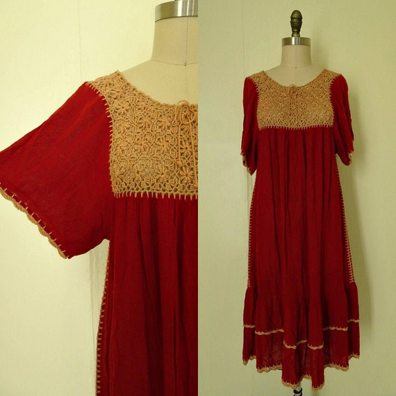 Mable 1970s crochet Autumn red gauze dress - image 1