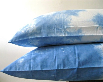 Hand-dyed blue sky and clouds 'Day Dreamer' pillowcases / Blue sky and clouds Dreamer tie dye cotton pillowcases pair
