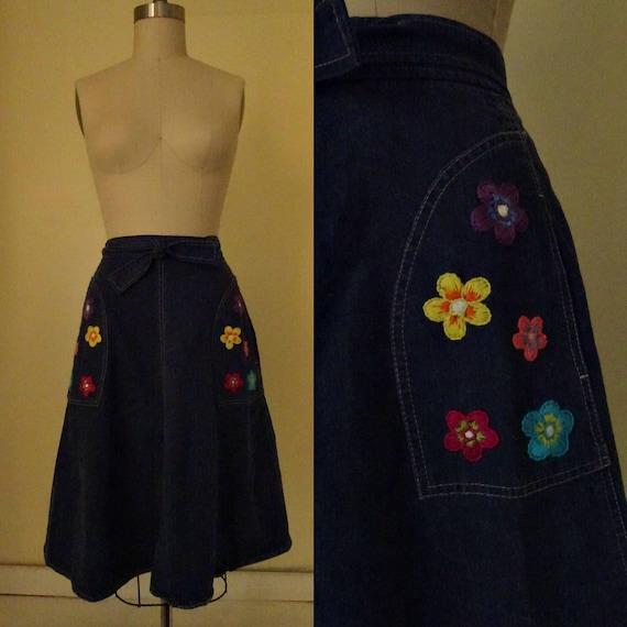 1970s hand embroidered denim wrap skirt