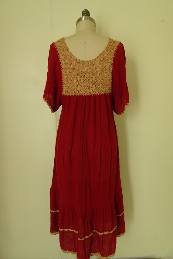 Mable 1970s crochet Autumn red gauze dress - image 7