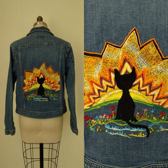 1980s embroidered Black cat jean jacket