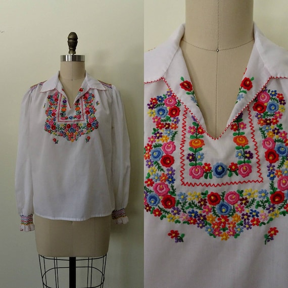 Switzerland embroidered Penny Lane blouse
