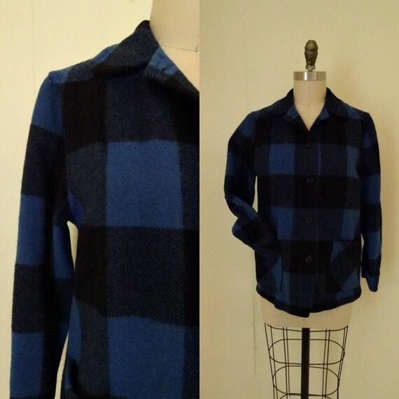 1960s Blue plaid wool jacket