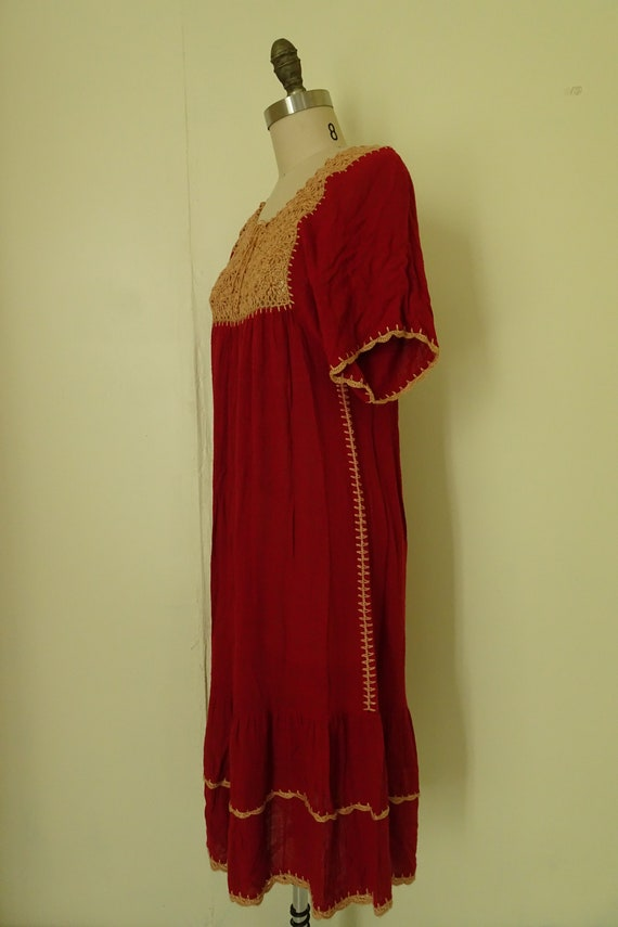 Mable 1970s crochet Autumn red gauze dress - image 6