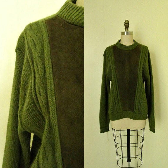 Sydney 1960s suede and wool sweater