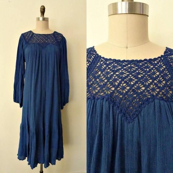 Element cobalt blue crochet and gauze dress