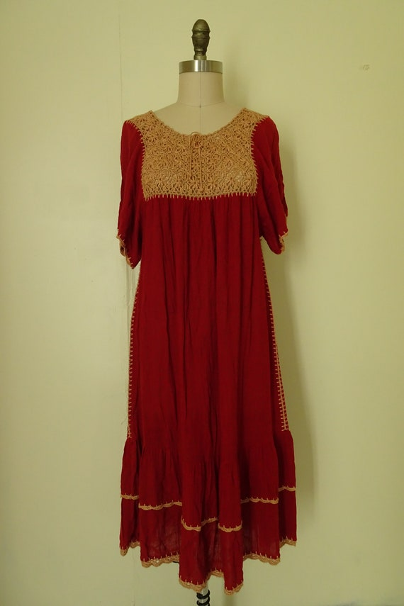 Mable 1970s crochet Autumn red gauze dress - image 2