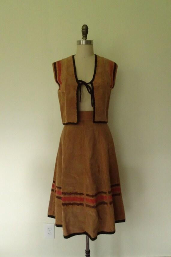 Folk song 1970s suede skirt and vest set