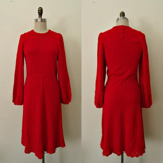 Rosa 1960s bell sleeve pointelle sweater dress