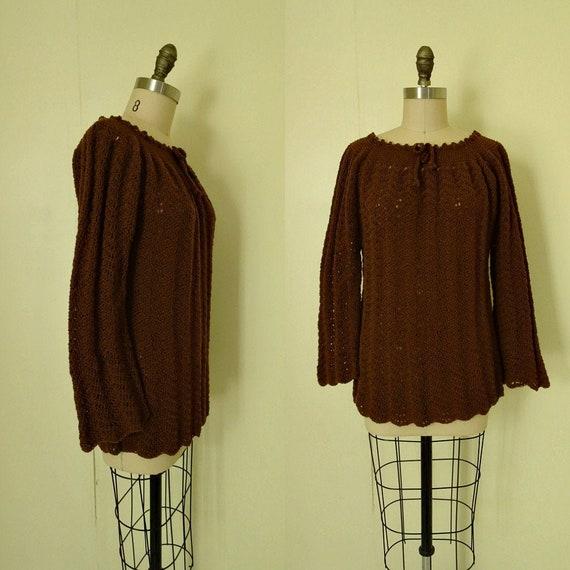 Emma 1970s crochet brown bell sleeve sweater