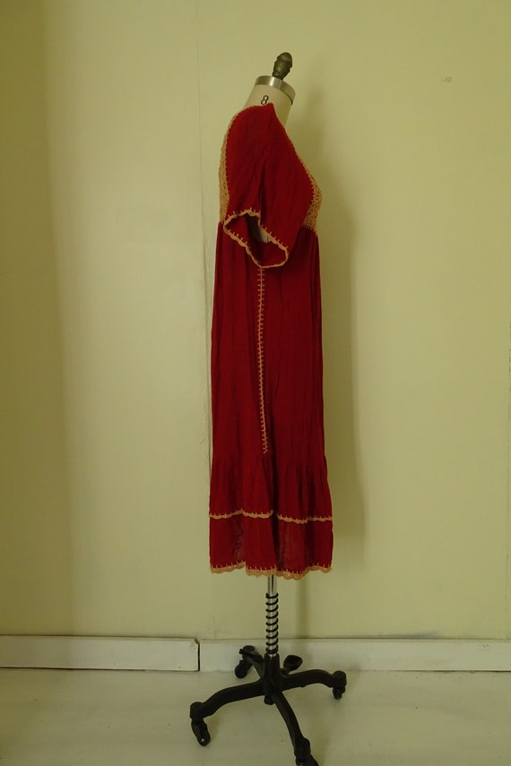 Mable 1970s crochet Autumn red gauze dress - image 8