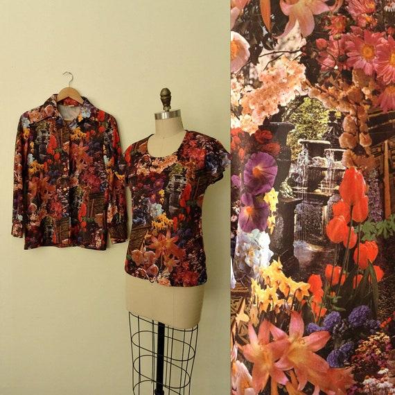 Flower print graphic shirt set