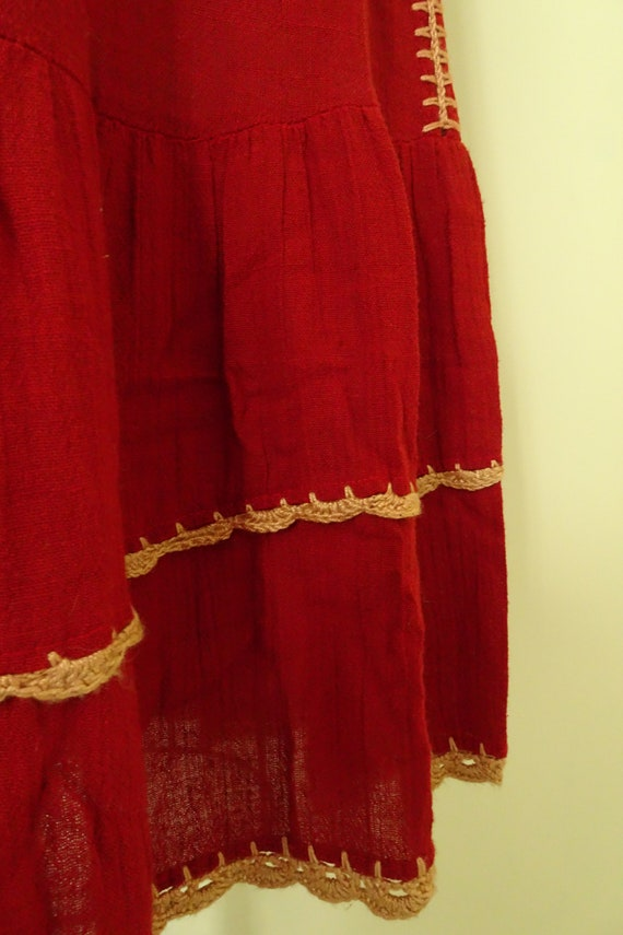 Mable 1970s crochet Autumn red gauze dress - image 5