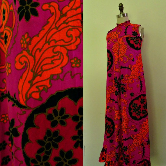 Floral fuchsia 1970s dress