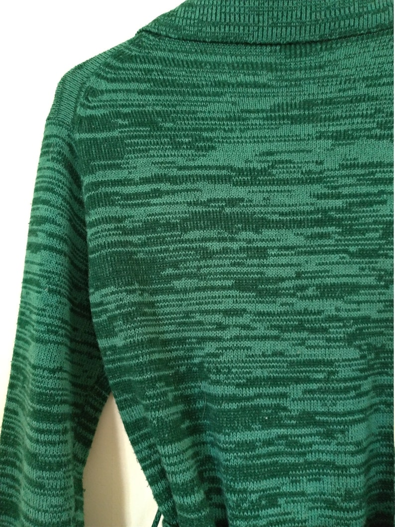 Vintage 70s green variegated striped wrap sweater