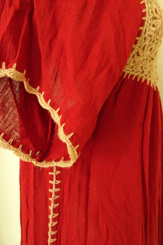 Mable 1970s crochet Autumn red gauze dress - image 9