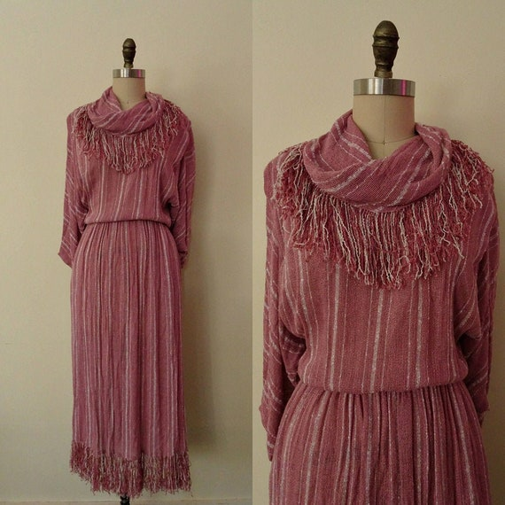 1980s fringe trim pink stripe dress