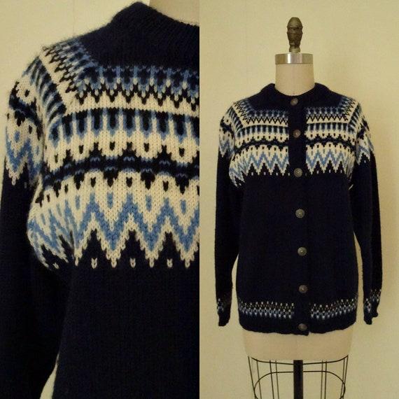 1970s Norway wool cardigan sweater