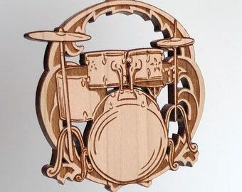 Drum set ornament - solid cherry wood