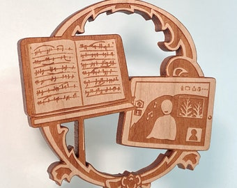 Remote music ornament - solid cherry wood