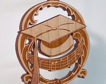 Graduation ornament - solid cherry wood