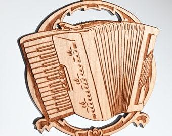 Accordion ornament - solid cherry wood