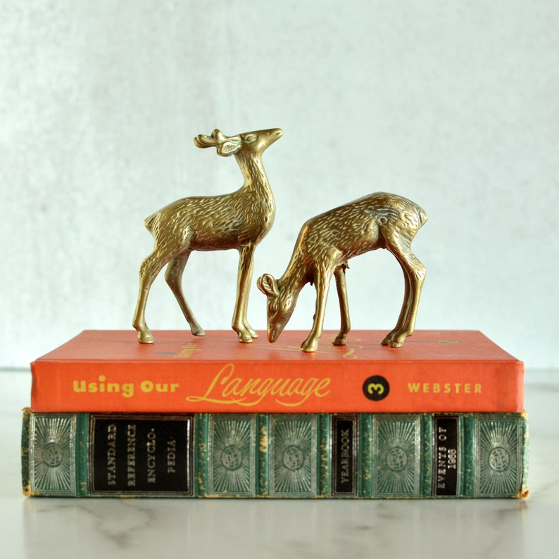 Pair of Vintage Brass Deer Figurines Decor Small Statue  MCM image 0
