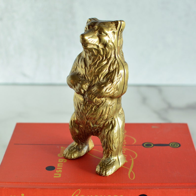 Antique Brass Bear Figurine Bank Wes Anderson Inspired Home image 0