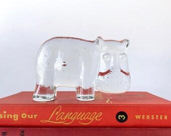 Kosta Boda Glass Hippo Figurine Swedish Design Paperweight Mid Century Modern MCM Home Hippopotamus Sculpture