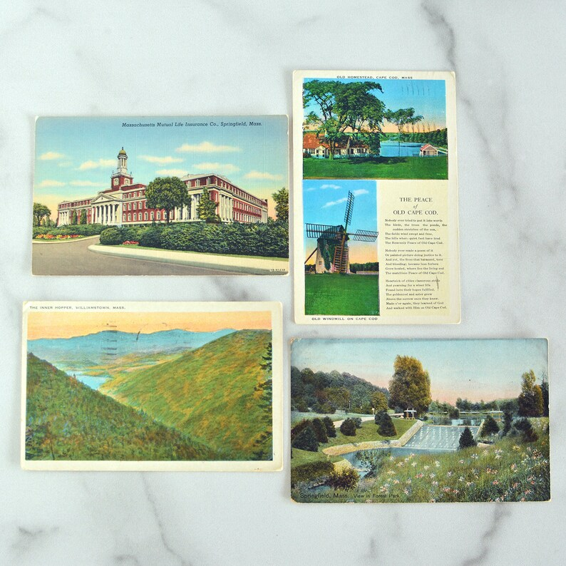 Vintage Massachusetts Postcards Set of 4 1930's 1900's image 0