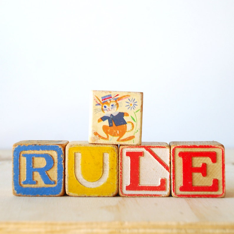 Vintage Children's Toy Blocks Alphabet Retro Rainbow image 0