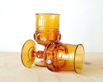 Vintage Amber Glass Goblets Retro Bar Ware Mad Men 1950's Golden Wine Glass Set of 2