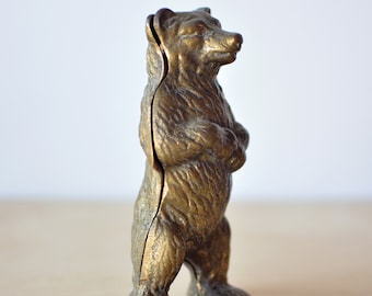 Antique Brass Bear Figurine Bank Wes Anderson Inspired Home Decor