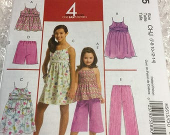 McCall's M5615 Girls 4 Easy Looks Pattern With Tank Dress, Top, Shorts and Capri's, Size 7-14 New, Unused, Untraced Factory Fold