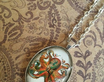 22x30 oval octopus pendant necklace