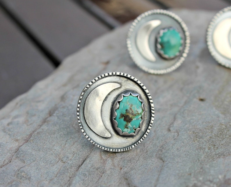 turquoise ring size L statement ring silver moon ring moon jewellery moon ring crescent moon ring uk moon jewelry turquoise jewelry