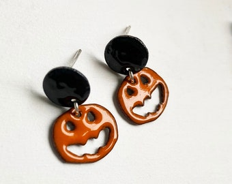 Pumpkin Halloween Stud Earrings Enamel Earrings or Necklace available in 16 colors
