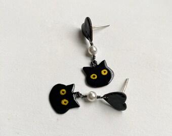 Cat Earrings Halloween Stud Earrings Black Cat