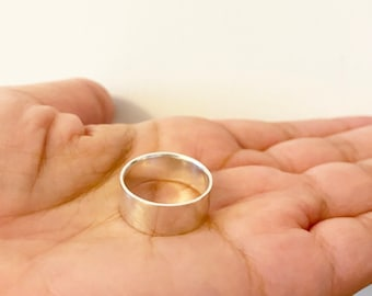 Unisex Wide Ring Sterling Silver, Anniversary Ring, Wedding Band Ring For Her and Him