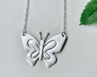 Butterfly Necklace Sterling Silver, Big Butterfly, Statement Necklace, Gift for sister, Gift for friend