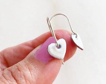 White Heart Enamel Dangle Earrings Sterling Silver Hook Ear Wires, available in 16 colors