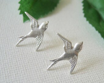 Flying Bird Stud Earrings Sterling Silver Swallow Bird Studs