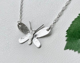 Dainty Butterfly Necklace, Sterling Silver Small Hammered Butterfly Necklace, Gardening Gifts, Gift for sister, Gift for friend