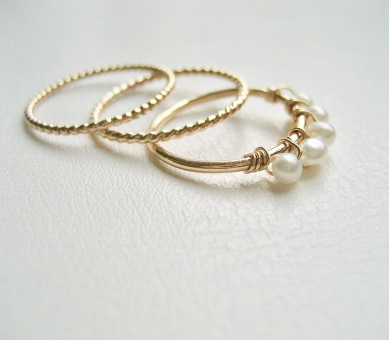 Set Of 3 Gold Stacking Rings Gold Filled Pearl Ring June Ring Twisted 14k gold filled ring Delicate Pearl Gold Filled Stacking Rings