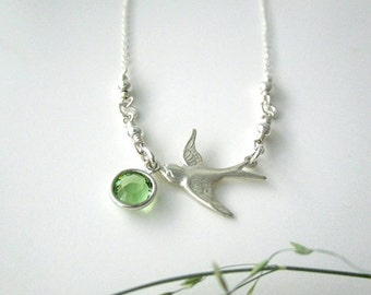 Tiny Swallow Bird Necklace with Birthstone, Birthday Gift for Her