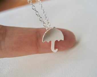Tiny Umbrella Necklace - Sterling Silver