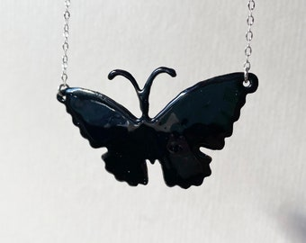 Enamel Opaque Black Butterfly Necklace, Halloween Necklace, available in 16 colors