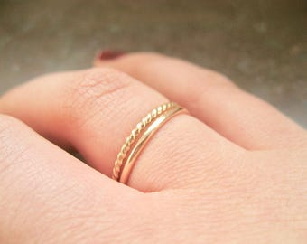 Gold Stackable Rings Set of Two 14k Gold Band Rings, Gold Filled Twisted Band Ring and Gold Filled Smooth Band Ring